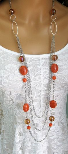 Long Chunky Beaded Orange Necklace Multi by RalstonOriginals