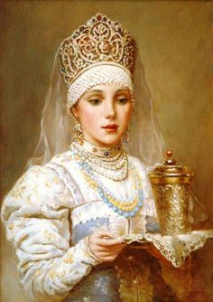 Russian costume in painting. Vladislav A. Nagornov. A Boyaryshnya with a Tray. 2011 - 2012. A boyaryshnya is a noble girl in the ancient Russia, a boyar's daughter. #art #painting #Russian #costume