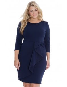 PLUS SIZE WATERFALL PEPLUM QUARTER MIDI LONG SLEEVE DRESS  -Top quality , yet Affordable Dress -Waterfall peplum  -3/4 length sleeve  -Midi length  -COLOURS; navy and green  -SIZES; 24 and 26  -Concealed zip fastener at the back  -Side seam length from underarm to hem is 79c  -Made in the UK Glam Dresses, Stylish Dresses, Long Sleeve Midi Dress, Peplum Dress, Plus Size Peplum, Affordable Dresses, Navy And Green, My Outfit, Plus Size Outfits