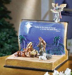 Nativity Scene in an Open Bible Statue Set Christmas Nativity Scene, Christmas Room, Christmas Projects, Vintage Christmas, Christmas Holidays, Christmas Decorations, Christmas Ornaments, Holiday Decor, Nativity Scenes