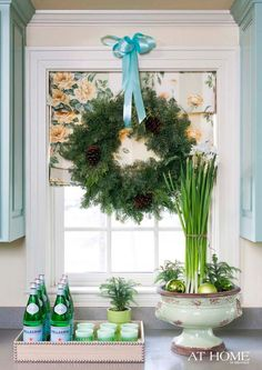 Christmas window decor for the kitchen! Get the look of this gorgeous fabric roman shade at Blinds.com: http://blnds.cm/U8JSte