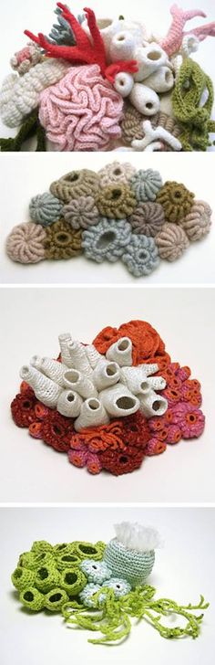 Knitted and crocheted coral reef