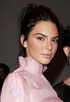 Kendall Jenner's bronzed, glowy makeup look and a high pony