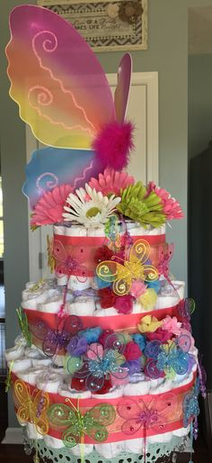 Rainbow/butterfly diaper cake