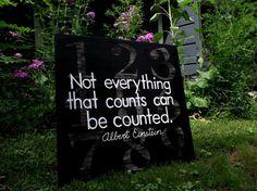 Handpainted Wall Art Board (with Albert Einstein quote)