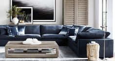 """Restoration Hardware Cloud Couch in crushed velvet - deep blue color - goes with the """"beauty and the beast"""" theme I'm trying to hint to throughout Avanti"""
