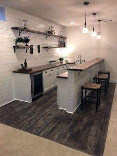 Home Basement Bathroom Kitchen Shiplap Kitchenette House Countertop Furniture Basement Makeover, Basement Renovations, Home Renovation, Home Remodeling, Small Basement Remodel, Kitchen Remodeling, Basement Kitchenette, Kitchenette Ideas, Basement Bedrooms