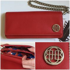"""NWT Red Clutch Wallet Wristlet w/ Silver Chain NWT Multifunctional! So many compartments for such a compact size. Love it but kept another red Wristlet. One larger zipper section. The rest are open but snug. Area for ID in front and 3 CC slips towards back. Two snaps close it. Silver chain can be removed. Note chain is not flimsy--has some weight to it. Nice quality.  About 7.5"""" x 3.5"""". Man made materials. Dana Buchman Bags Clutches & Wristlets"""