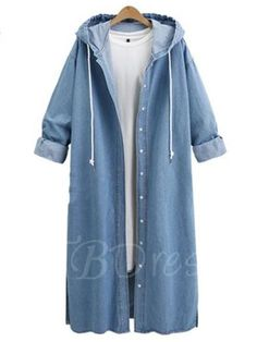 #Spring #AdoreWe #TBDress - #TBDress Jean Denim Hooded Long Loose Womens Trench Coat - AdoreWe.com