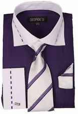 New Men's Dress Shirt Set with White Collar and French Cuff by George's AH621 [Purple,16 1/2,34/35]