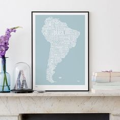 South America Type Map - Words cloud painting.