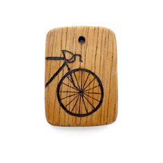 PEEK-A-BOO BICYCLE 2-sided Pendant Necklace Pyrography Wood Art by Karen