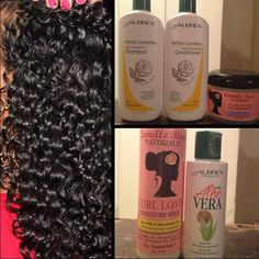 """Aubrey Organics """"White Camellia"""" set of shampoo. Camille Rose Naturals Algae Renew Deep Conditioner, Once my hair was cleansed and deep conditioned, applied the Camille Rose Naturals Curl Love Moisture Milk followed by a finger-raked layer of Aubrey Organics Pure Aloe Vera Juice to add some shine, definition and to seal in moisture! All natural and healthy goodness! Dont forget to keep the Aloe refrigerated. Sleep on a satin pillowcase to avoid dryness and frizz."""