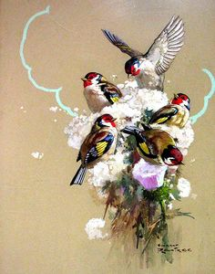 Finches by Harry Rountree - 1878-1950 - Originally from New Zealand and moved to…