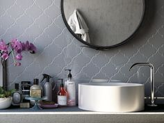 A contemporary bathroom mood complemented with our Arabesque. Each tile, recessed or flat, is engineered to fit perfectly with each of the others creating limitless possibilities to express one's unique style. Arabesque Tile, Bathroom Inspiration, Collections, Mood, Ceramics, Flat, Contemporary, Mirror, Unique