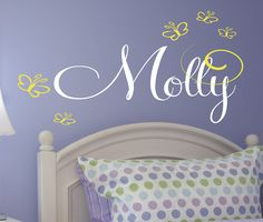 Children Decor Name Vinyl Wall Decal - Baby Nursery Wall Art - Girls Vinyl Lettering. $14.00, via Etsy.