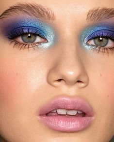 So much going on here but it all works - blue eyeshadow - eye makeup - baby pink lips - blush cheeks - makeup ideas - makeup inspiration Dramatic Eye Makeup, Dramatic Eyes, Smokey Eye Makeup, Makeup Eyeshadow, Makeup Brushes, Easy Eyeshadow, Makeup Remover, Eyeshadow Palette, Makeup Monolid