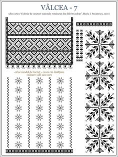 Semne Cusute: iie din OLTENIA, Valcea Embroidery Sampler, Folk Embroidery, Embroidery Stitches, Embroidery Patterns, Cross Stitch Borders, Cross Stitching, Beading Patterns, Cross Stitch Patterns, Palestinian Embroidery