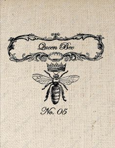 Queen Bee Digital Download or Iron on Transfer by PetitePaperie