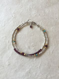 Garnet Turquoise Hill Tribe Silver and Gold Beaded Bracelet, Sundance Style