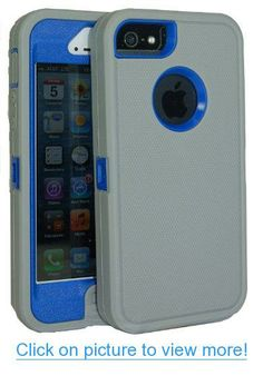 Gray on Blue iPhone 5 Body Armor Defender Case Comparable to Otterbox Defender Series by Wisdompro