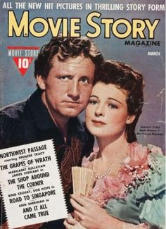 """Spencer Tracy and Ruth Hussey in """"Movie Story"""" Magazine - March 1940"""