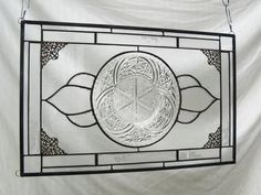 Stained Glass Panel Depression Glass Window Hanging with American Brilliant EAPG on Etsy, $99.95