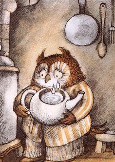 """TÉ DE LÁGRIMAS   Libro: """"Búho en casa"""" de Arnold Lobel. Ediciones Ekaré   Búho sacó una tetera del armario.   —Esta noche haré té de lágrim..."""