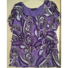 """Apt 9 Purple Multicolor Paisley Print Ruffle Shirt Apt 9 Purple Multi Color Paisley Print Ruffle Shirt -pre-owned but in great condition -Apt 9 -size 1X -polyester -approx. 23"""" armpit to armpit -approx. 26"""" length Apt. 9 Tops"""