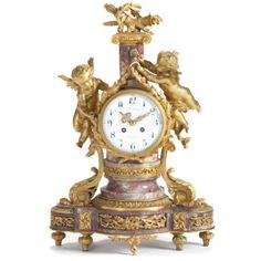 French 19th century gilt bronze and marble mantel clock