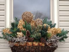 Christmas Window Box Ideas, like the ribbon trim, Christmas Window Boxes, Winter Window Boxes, Christmas Porch, Farmhouse Christmas Decor, Outdoor Christmas, Winter Christmas, Christmas Wreaths, Christmas Crafts, Christmas Decorations