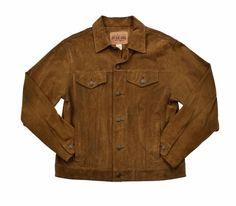 GAP Brown Split Cowhide Suede Leather Coat Trucker Rancher Jacket Mens Size M #GAP #BasicJacket