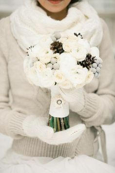 Winter themed wedding bouquet