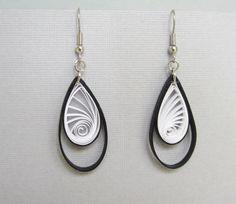 Quilling Earrings, Black and White Teardrop Hoops. $11.00, via Etsy.