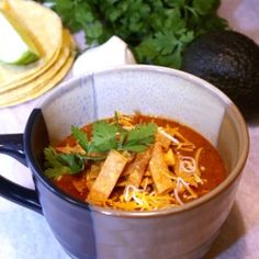 Crock Pot Chicken Tortilla Soup - 15 minutes prep gets you out of the door in the morning with this healthy and delicious Chicken Tortilla Soup. ....:::::::....   #soup #food #recipes #cooking #delicious #Yummy #dinner #chickensoup #souprecipe