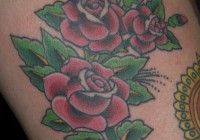 pink roses on thigh sailor jerry flash by jeb maykut at flyrite tattoo in williamsburg, brooklyn