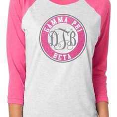 Custom Gamma Phi Beta Monogram Raglan Shirt - $20.00