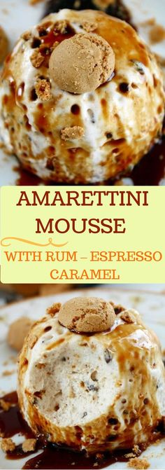 Amarettini Mousse mit Rum Espresso KaramellMeine wolkig leichte Amarettini Mouss… Amarettini mousse with rum espresso caramelMy cloudy light amarettini mousse with rum espresso caramel sauce is one of my favorite desserts for festive occasions! Dessert Simple, No Bake Desserts, Easy Desserts, Baking Desserts, French Desserts, Dessert Oreo, Cake Recipes, Dessert Recipes, Best Pancake Recipe