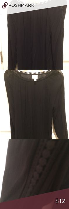 Knox Rose Tunic Black tunic with Crochet sleeve and brass Buttons Knox Rose Tops Tunics