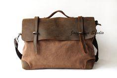 Genuine Cow Leather bag /canvas Briefcase / leather canavs bag/ satchel/Messenger bag / Laptop bag / Men's leather canvas Bag on Etsy, $54.99
