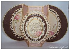 """Tutorial - GORGEOUS card, too! Card is open and standing for display.... but it folds flat (and is 6"""" tall).... made from cardstock not a regular card base"""