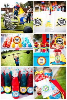 "Super Hero Birthday Party very cute ! ""Dumbells"", mini trampoline & tunnels go with the ""superhero bootcamp"" idea :) found our next bday party idea! Avengers Birthday, Superhero Birthday Party, 4th Birthday Parties, Birthday Fun, Birthday Ideas, Party Fiesta, Festa Party, Party Party, Party Printables"