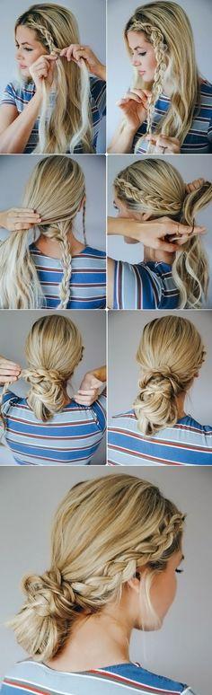 Как красиво собрать длинные волосы на каждый день: пучок с плетением (фото урок):