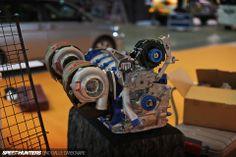Mad Mike Whiddett's new FD3S RX-7 Rotary Quad Rotor Twin Turbo engine built by Kawato-san at Total Car Produce Magic @ 2014 Tokyo Auto Salon via SpeedHunters