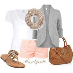 Peach and Grey by mandys120 on Polyvore