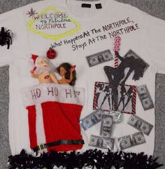 Ugly Christmas Sweater VEGAS STYLE Santa Strippers Money NAUGHTY Funny Mens XL  #VANHEUSEN #UGLYCHRISTMASSWEATER