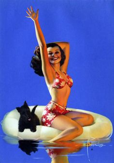 Vintage 1940's pin-up and her Scottie by Rolf Armstrong.