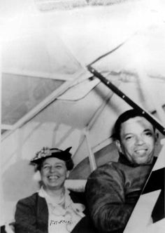 Eleanor Roosevelt takes flight with one of the Tuskegee Airmen, ca. 1940. (She had been a strong advocate for opening flight roles to Black airmen.)