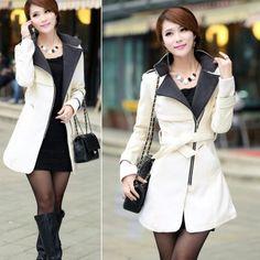 28320192e08 Women Woolen Warm Winter Long Coat Jacket Trench Slim Fit With