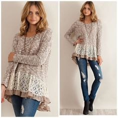 Double Layer Mocha Marled Tunic Knit This is such a great look to add a feminine flare to your wardrobe . Pair with leggings or denim . Wear a slip dress underneath to give it a layered look and turn it into a dress . NWOT size S M L . Please comment for personal listing . Vivacouture Sweaters